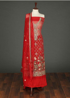 Sanaulla Exclusive Range Embroidered Chiffon Unstitched 3 Piece Suit SER19C 04 Red - Luxury Collection