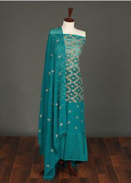 Sanaulla Exclusive Range Embroidered Chiffon Unstitched 3 Piece Suit SER19C 05 Ferozi - Luxury Collection
