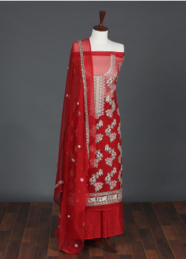 Sanaulla Exclusive Range Embroidered Chiffon Unstitched 3 Piece Suit SER19C 06 Red - Luxury Collection