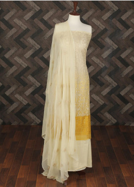 Sanaulla Exclusive Range Embroidered Chiffon Unstitched 3 Piece Suit SER19C 07 Yellow - Luxury Collection