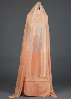 Sanaulla Exclusive Range Embroidered Chiffon Unstitched 3 Piece Suit SER19C 13 Peach - Luxury Collection