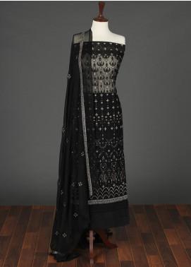 Sanaulla Exclusive Range Embroidered Chiffon Unstitched 3 Piece Suit SER19C 14 Black - Luxury Collection