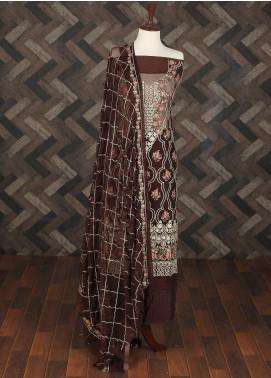 Sanaulla Exclusive Range Embroidered Chiffon Unstitched 3 Piece Suit SER19C 15 Brown - Luxury Collection