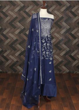 Sanaulla Exclusive Range Embroidered Chiffon Unstitched 3 Piece Suit SER19C 18 Navy Blue - Luxury Collection