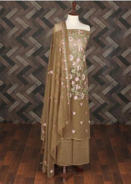 Sanaulla Exclusive Range Embroidered Chiffon Unstitched 3 Piece Suit SER19C 22 Brown - Luxury Collection