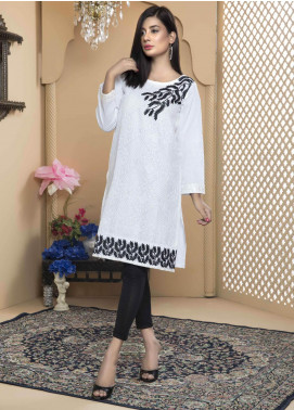 Festive Embroidered Cambric Stitched Kurtis White Gossip