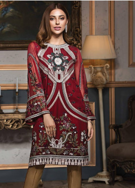 XENIA Formals Embroidered Chiffon Stitched 2 Piece Suit XE19F 01 RED DIVINE