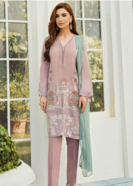 XENIA Formals Embroidered Chiffon Stitched 3 Piece Suit XE19-F2 10 NIGHTINGALE