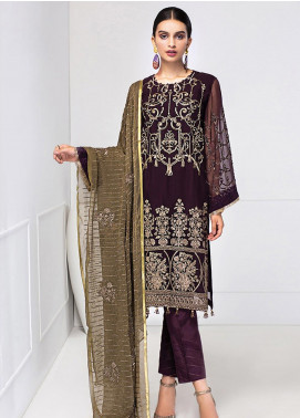 XENIA Formals Embroidered Chiffon Stitched 3 Piece Suit XE20F 06-ZAMINA