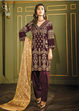 XENIA Formals Embroidered Velvet Stitched 3 Piece Suit XE19WE 02 XALIJ