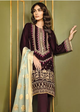 XENIA Formals Embroidered Velvet Stitched 3 Piece Suit XE19WE 07 SERENIDAD