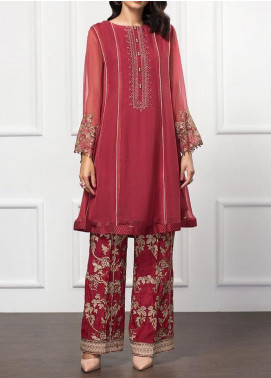 XENIA Formals Embroidered Chiffon Stitched 2 Piece Suit XFR-20-139 ROYAL AMBER