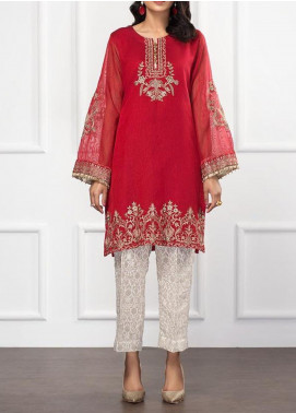 XENIA Formals Embroidered Khaadi Net Stitched 2 Piece Suit XFR-20-152 SALMON