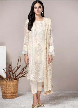 Xenia Formals Embroidered Chiffon Stitched 3 Piece Suit XF21P MYSTIC IVORY XFR-20-167