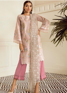 XENIA Formals Embroidered Khaadi Net Stitched 3 Piece Suit XE19FR 01 CREME PERLE