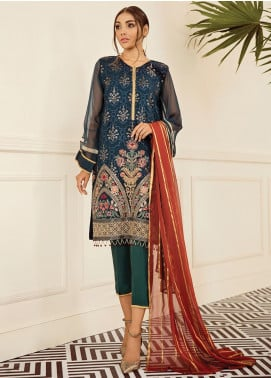 XENIA Formals Embroidered Chiffon Stitched 3 Piece Suit XE19FR 02 LA NUIT