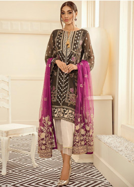 XENIA Formals Embroidered Chiffon Stitched 3 Piece Suit XE19FR 04 PLUMES DE GLACE
