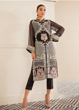 XENIA Formals Embroidered Chiffon Stitched 2 Piece Suit XE19FR 06 CIEL DE MINUIT