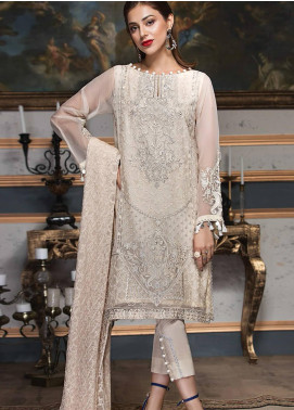 XENIA Formals Embroidered Chiffon Stitched 3 Piece Suit XE19F 02 CRYSTAL MINK