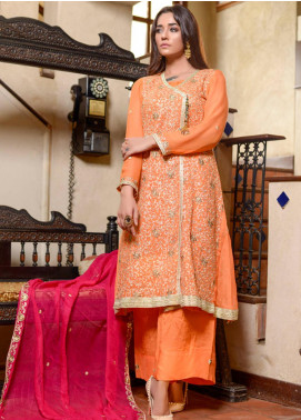 Yasmeen Arif by Al Dawood Textiles Embroidered Chiffon Unstitched 3 Piece Suit AD20YA AD-03 - Festive Collection