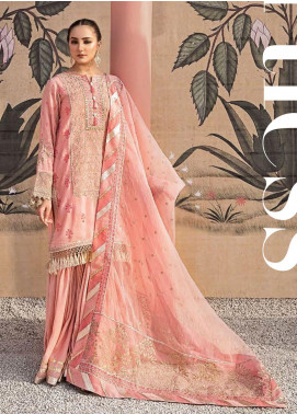 Yes Clothing | Yes - Young Energetic Social Embroidered Raw Silk Unstitched 3 Piece Suit YS20FL 1 - Luxury Collection