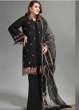 Yes Clothing | Yes - Young Energetic Social Embroidered Poly Net Unstitched 3 Piece Suit YS20SF BLACK PHANTOM - Formal Collection