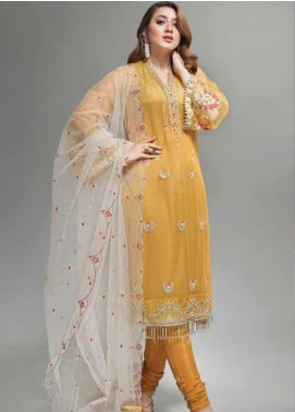Yes Clothing | Yes - Young Energetic Social Embroidered Poly Net Unstitched 3 Piece Suit YS20SF GOLDEN GLOW - Formal Collection