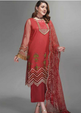 Yes Clothing | Yes - Young Energetic Social Embroidered Poly Net Unstitched 3 Piece Suit YS20SF ROCOCCO RED - Formal Collection