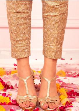 Zaaviay Fancy Banarsi Stitched Trousers ZPT-003 GOLD BANARSI STRAIGHT PANT