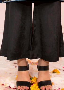 Zaaviay Fancy Raw Silk Stitched Trousers ZSC-052 BLACK RAW SILK CULOTTES