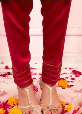 Zaaviay Fancy Raw Silk Stitched Trousers ZSC-070 MAROON RAW SILK SHALWAR