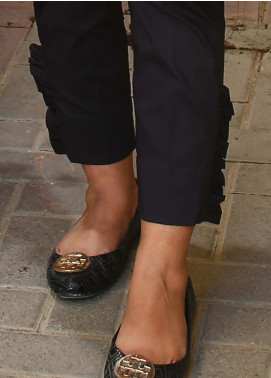 Zaaviay Fancy Lycra Stitched Trousers ZW20P ZDT-002 STRAIGHT FRILL PANTS