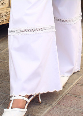 Zaaviay Fancy Lycra Stitched Trousers ZW20P ZDT-006 WHITE BELL BOTTOMS