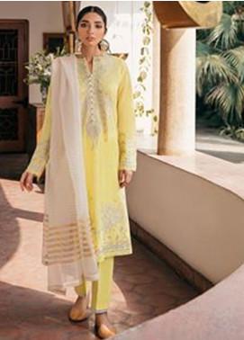 Zaha by Khadijah Shah Embroidered Lawn Unstitched 3 Piece Suit ZKS20M ZF20 02 MASHRIQ - Eid Collection