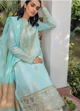 Zaha by Khadijah Shah Embroidered Lawn Unstitched 3 Piece Suit ZKS20M ZF20 04 RAHAB - Eid Collection