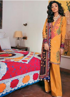 Zaha by Khadijah Shah Embroidered Lawn Unstitched 3 Piece Suit ZKS20M ZF20 09 PUSHALI - Eid Collection