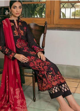 Zaha by Khadijah Shah Embroidered Lawn Unstitched 3 Piece Suit ZKS20M ZF20 12 TABISH - Eid Collection