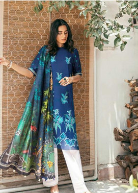 Zaha by Khadijah Shah Embroidered Lawn Unstitched 3 Piece Suit ZKS20M ZF20 13 SHAB - Eid Collection