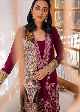 Zaha by Khadijah Shah Embroidered Lawn Unstitched 3 Piece Suit ZKS20M ZF20 14 AJORI - Eid Collection