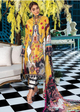 Zaha by Khadijah Shah Embroidered Lawn Unstitched 3 Piece Suit ZKS20L 1 - Spring / Summer Collection