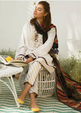 Zaha by Khadijah Shah Embroidered Lawn Unstitched 3 Piece Suit ZKS19F 01 KOHINOOR - Festive Collection