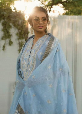 Zaha by Khadijah Shah Embroidered Cotton Unstitched 3 Piece Suit ZKS19F 15 JASMINE - Festive Collection