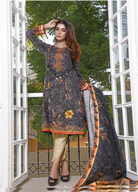 Zaibunnisa Printed Khaddar Unstitched 3 Piece Suit ZN20W 02 Cool Copper - Winter Collection