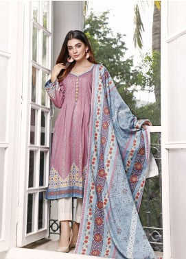 Zaibunnisa Printed Khaddar Unstitched 3 Piece Suit ZN20W 03 Pink Lush - Winter Collection