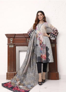 Zaibunnisa Printed Khaddar Unstitched 3 Piece Suit ZN20W 04 Hexagon Delight - Winter Collection