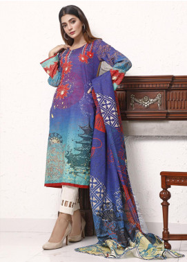 Zaibunnisa Printed Khaddar Unstitched 3 Piece Suit ZN20W 05 Dragons Temple - Winter Collection
