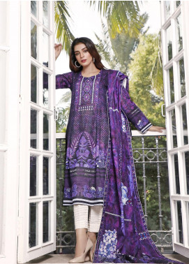 Zaibunnisa Printed Khaddar Unstitched 3 Piece Suit ZN20W 09 Purple Arch - Winter Collection