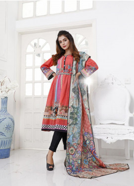 Zaibunnisa Printed Khaddar Unstitched 3 Piece Suit ZN20W 13 Red Gloss - Winter Collection