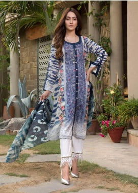 Zaibunnisa Formal Lawn Stitched 3 Piece Suit Royal 01