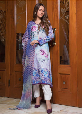 Zaibunnisa Formal Lawn Stitched 3 Piece Suit Royal 06